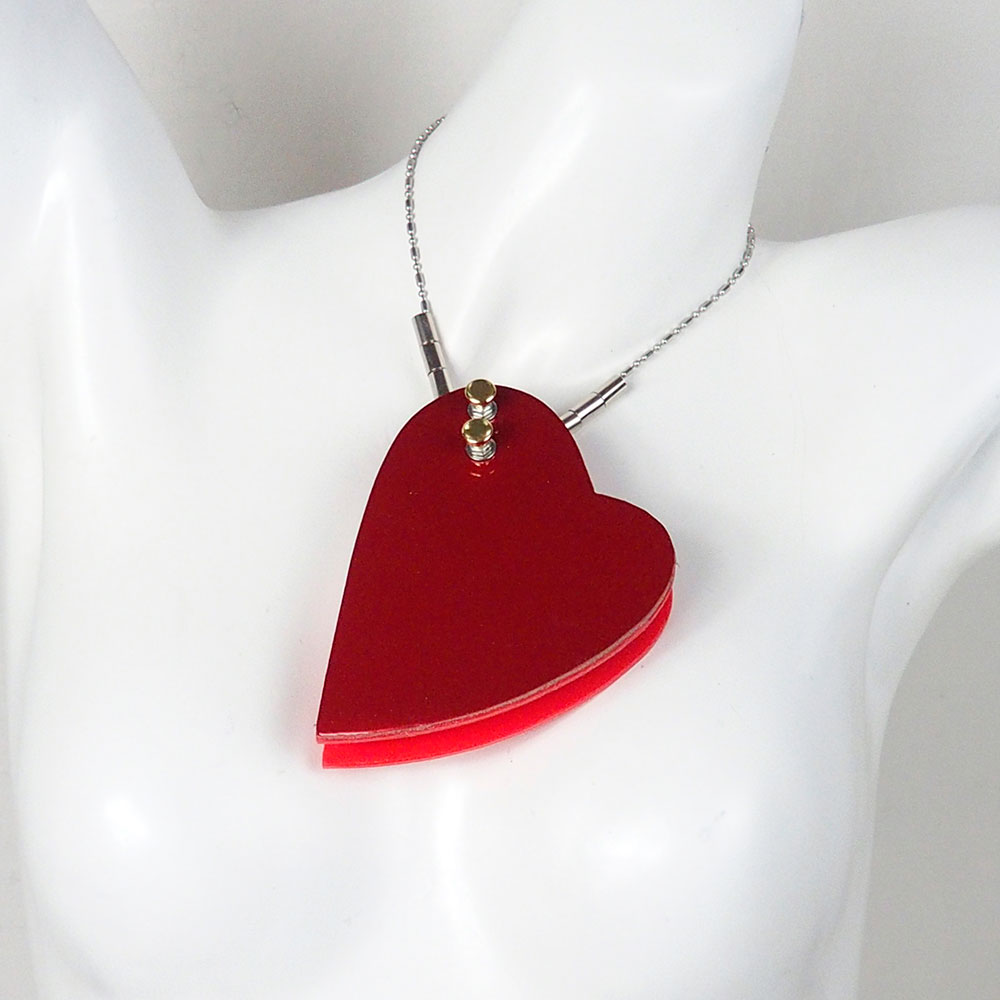 huge heart shaped pendant necklace in neon colors statement necklace