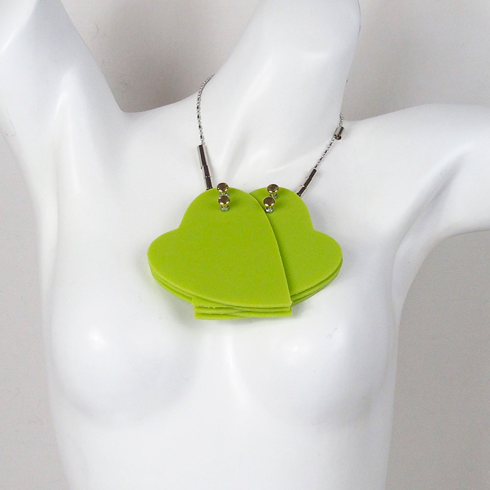 huge double heart pendant necklace in neon colors statement necklace