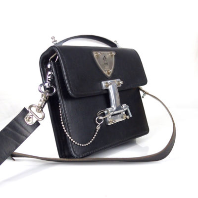 vintage black leather crossbody bag metal handle