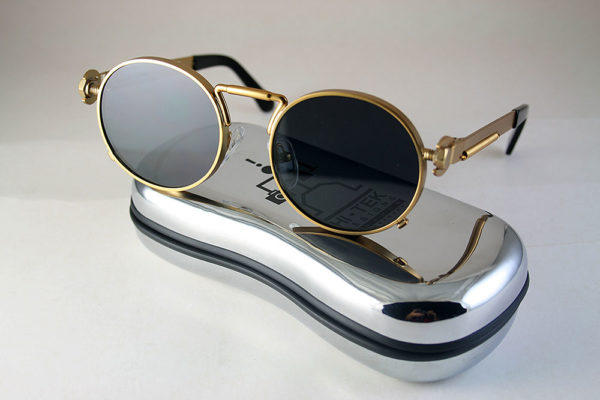 round gold sunglasses Steampunk style with spring on temples HT-165 Large