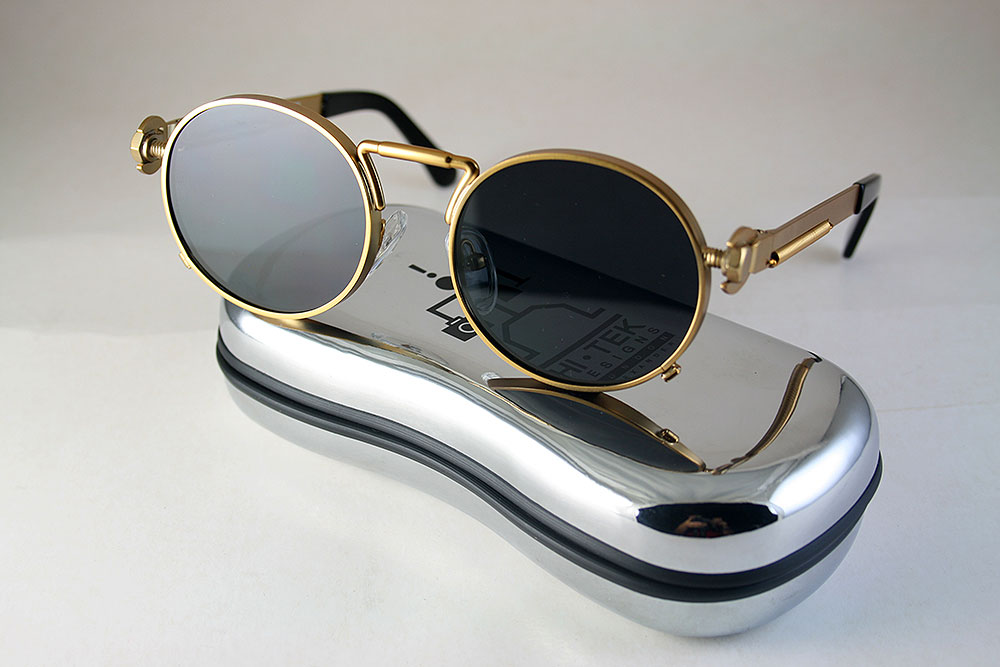 round retro gold sunglasses
