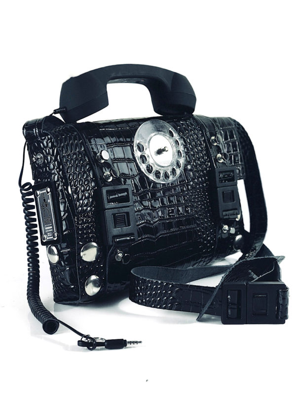 black shiny leather shoulder bag retro telephone handle unusual unique