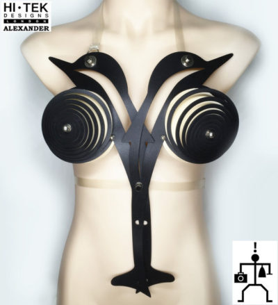 women's artistic body wear over bust bustier in the shape of a dolphin Black
