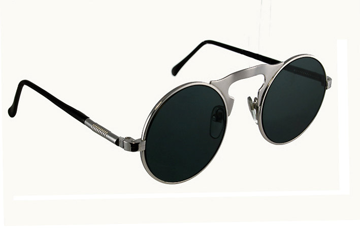 round metal sunglasses with flat lens gold silver