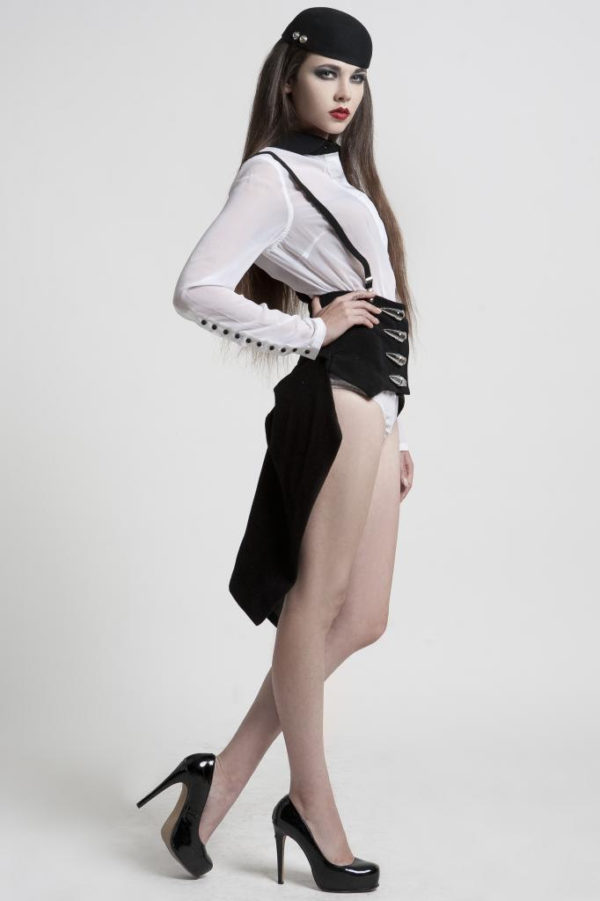 HI TEK ALEXANDER modern Victorian corset with bustle in black wool Steampunk Burlesque club wear