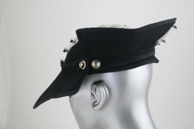 HI TEk Alexander black wool felt cap hat unisex transformer steampunk gothic cyberpunk sci fi retro  with metal