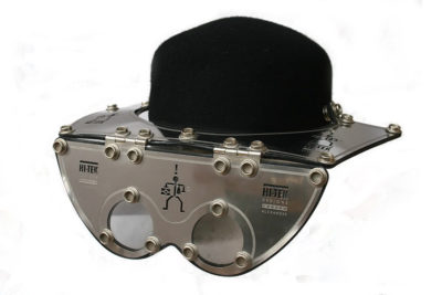 Stainless Steel  flips for stylish cosplay Industrial Steampunk Visor Hat Mask
