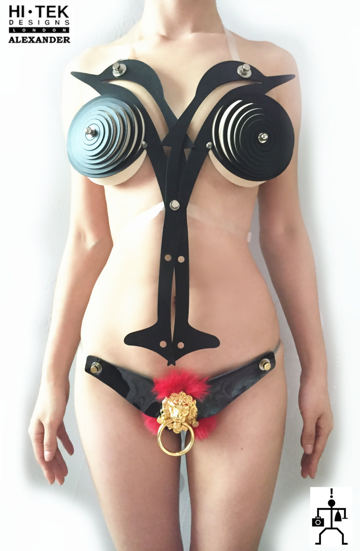 artisitc body wear over bust bustier Dolphin Black black lion bikini set