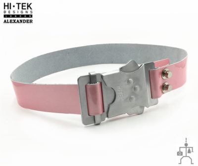HI Tek Alexander pink leather DR.WHO belt with aluminum fastener buckle cyperpunk gothic futuric  unusual unique