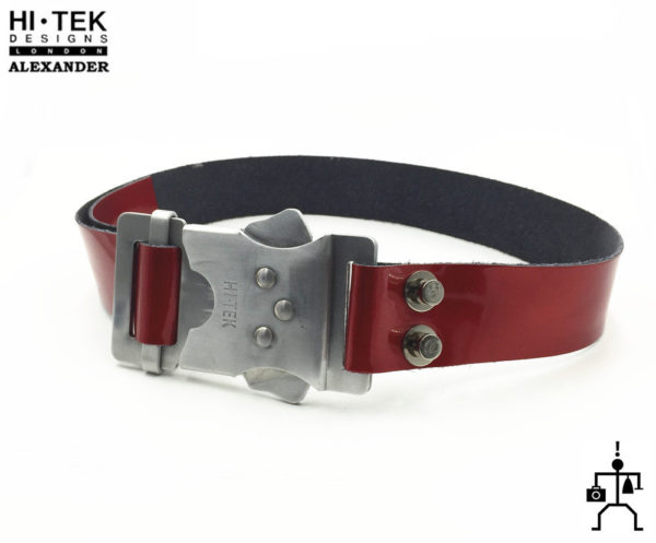 HI Tek Alexander red shiny  leather DR.WHO belt with aluminum fastener buckle cyperpunk gothic futuric  unusual unique