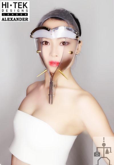 Hi Tek Alexander handmade futuristic modern futuristic, sci fi ,steampunk  unusual party Egypt pharaoh  style eyewear mask