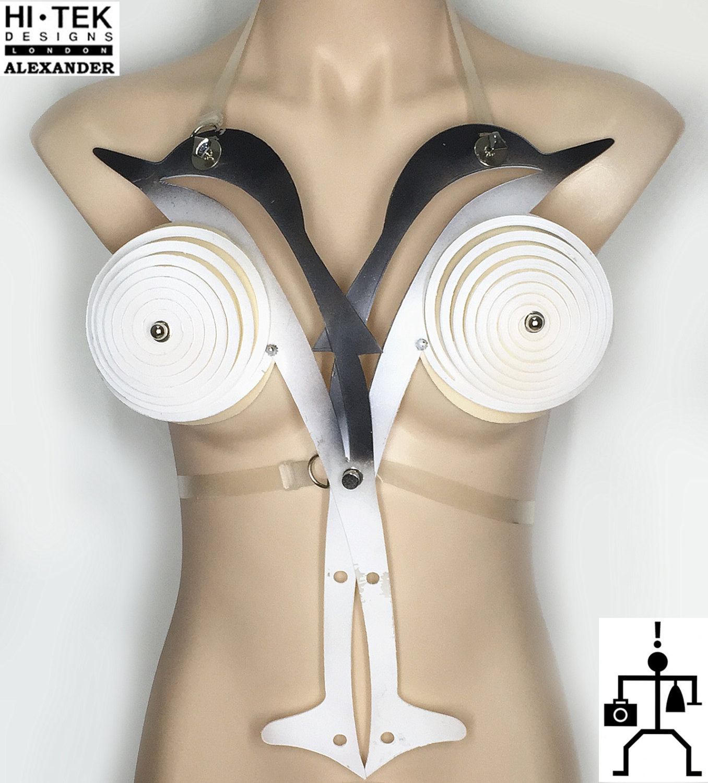 unusual body wear body accessory art wear dancewear cosplay unique steampunk Goth overbust,corset,sci fi costume,fetish cyberpunk,futuristic clothing