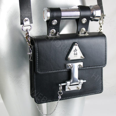 Vintage black leather crossbody bag  Goth industrial Steampunk unusual unique futuristic statement art