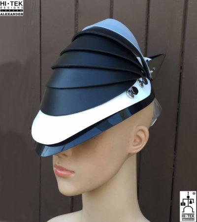Hi Tek Alexander handmade modern futuristic, sci fi ,gothic ,steampunk unusual party eyewear alien leather mask hat headpiece helmet