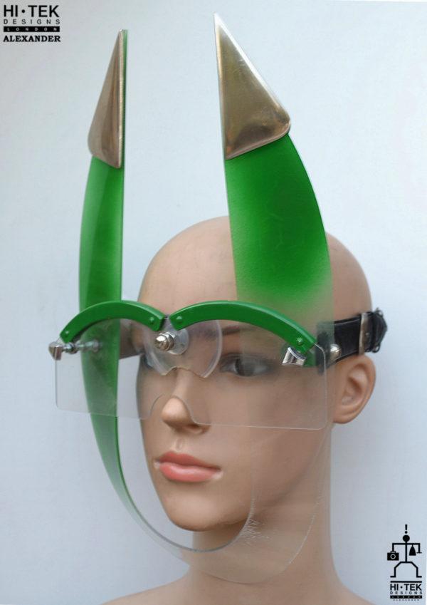 Hi Tek Alexander handmade futuristic modern steampunk cosplay cyberwave gothic sic fi artist style costume artist unusual party eyewear mask