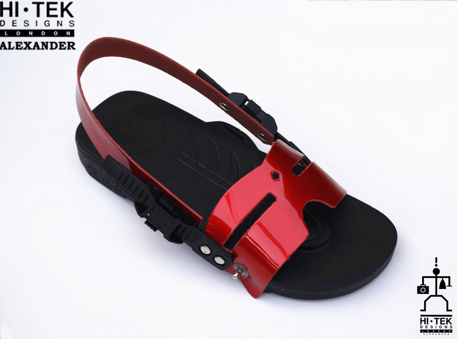 statement sandals for men unusual unique one of a kind made to impress black EVA sole red leather upper