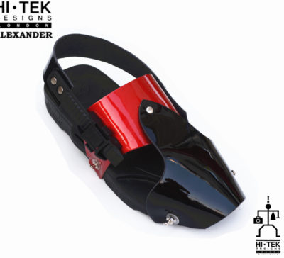 Hi Tek Alexander goth unique unusual futurisitc handmade EVA black and red  leather unisex beach sandal
