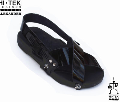 statement sandals for men unusual unique one of a kind made to impress black EVA sole black leather upper