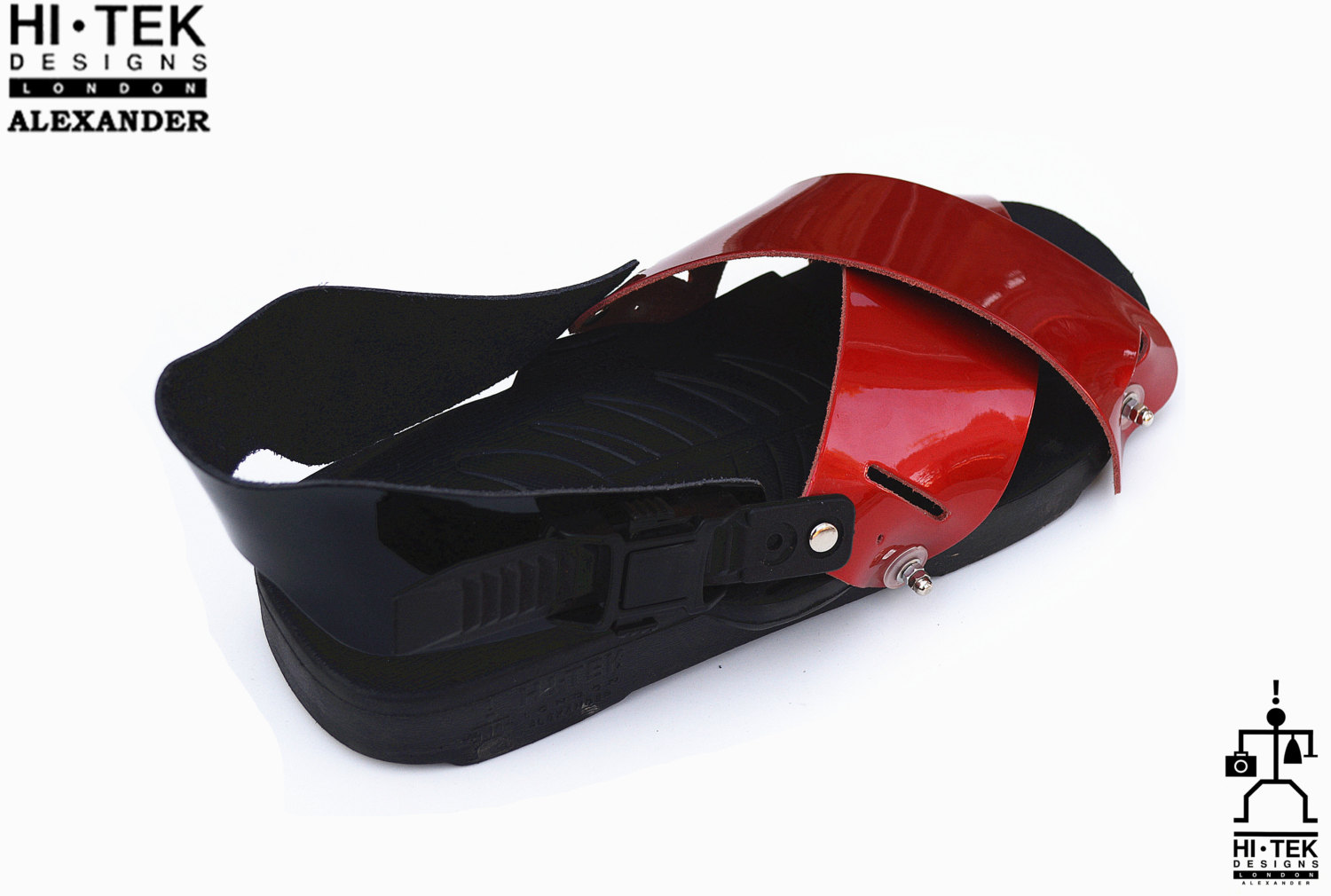 mens sandals, black EVA sole red patent upper, strap sandals, unusual statement unique theatrical