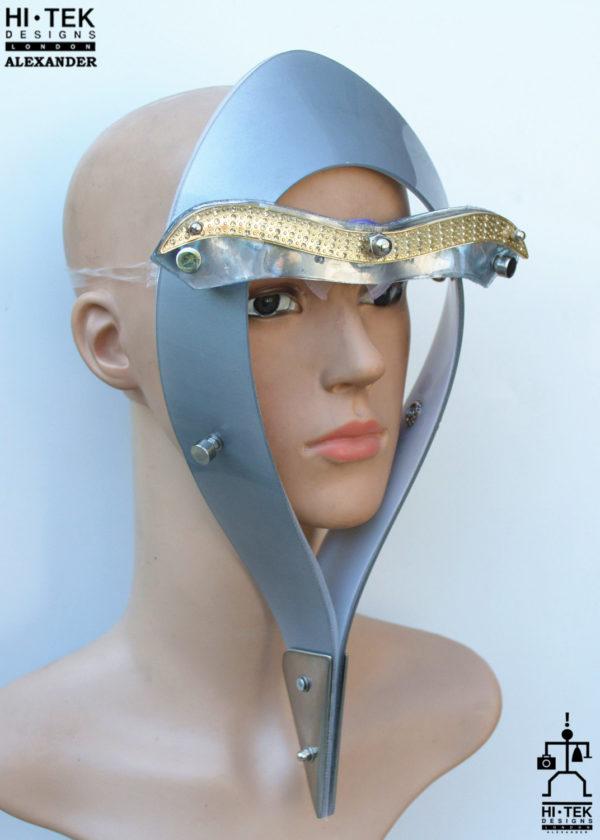 Hi Tek Alexander handmade futuristic modern futuristic, sci fi ,steampunk  unusual party Egypt Pharaoh style eyewear mask silver