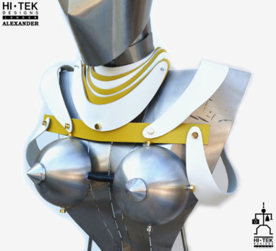 women's harness pauldron in white yellow leather, cosplay costume cyber punk futuristic