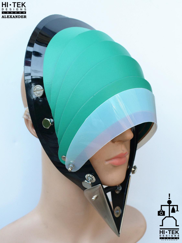 Hi Tek Alexander handmade modern futuristic, sci fi ,gothic ,steampunk unusual party eyewear alien green leather unisex cosplay mask hat