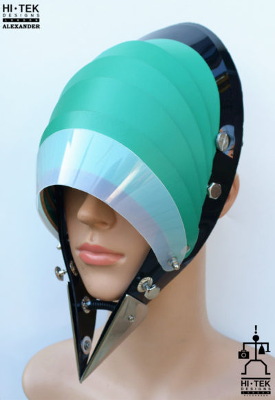 Hi Tek Alexander handmade modern futuristic, sci fi ,gothic ,steampunk unusual party eyewear alien green leather unisex cosplay mask hat