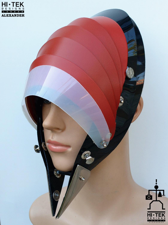 Hi Tek handmade modern futuristic, sci fi ,gothic ,steampunk unusual party eyewear alien stylish red leather mask hat headpiece helmet