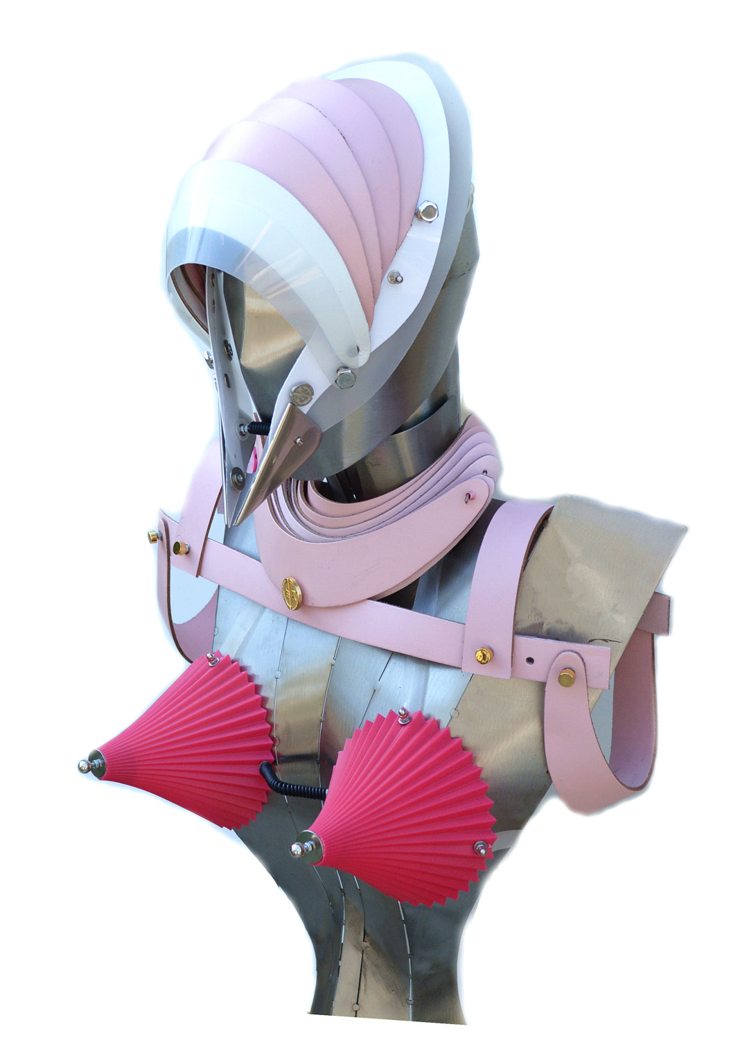 Leather harness pauldron fashion statement accessory cosplay costume cyber punk futuristic pink leather