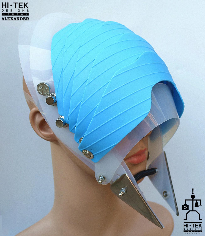 Hi Tek Alexander handmade modern futuristic sci fi gothic steampunk unusual party white headwear alien plastic mask costume hat helmet