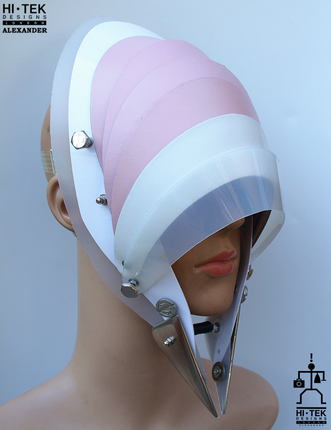 Hi Tek handmade modern futuristic, sci fi ,gothic ,steampunk unusual party eyewear alien stylish pink leather mask hat headpiece helmet