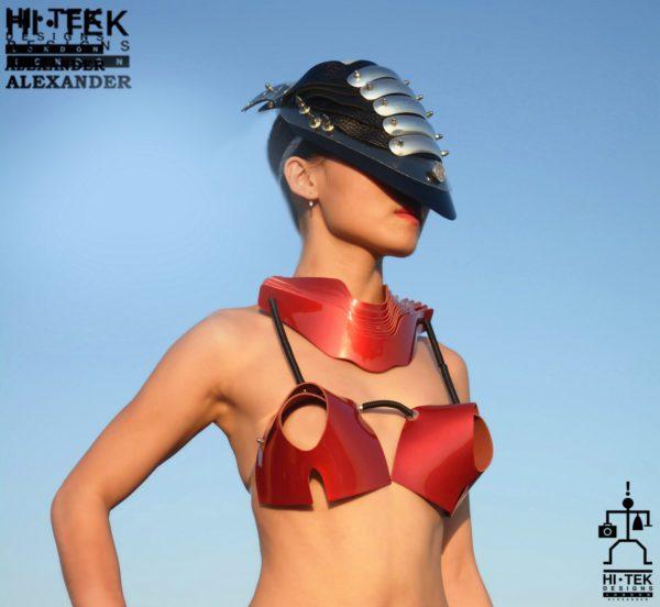 Hi Tek women's dancewear cosplay lady gaga style unique steampunk gothic red leather bra sci fi costume cyberpunk fetish futuristic clothing