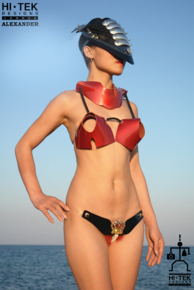 Hi Tek women's dancewear cosplay lady gaga style unique steampunk gothic red leather bra sci fi costume cyberpunk fetish futuristic clothing