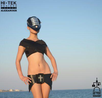 Hi Tek women's dancewear cosplay lady gaga style unique steampunk gothic sci fi costume cyber fetish futuristic clothing overbust miniskirt