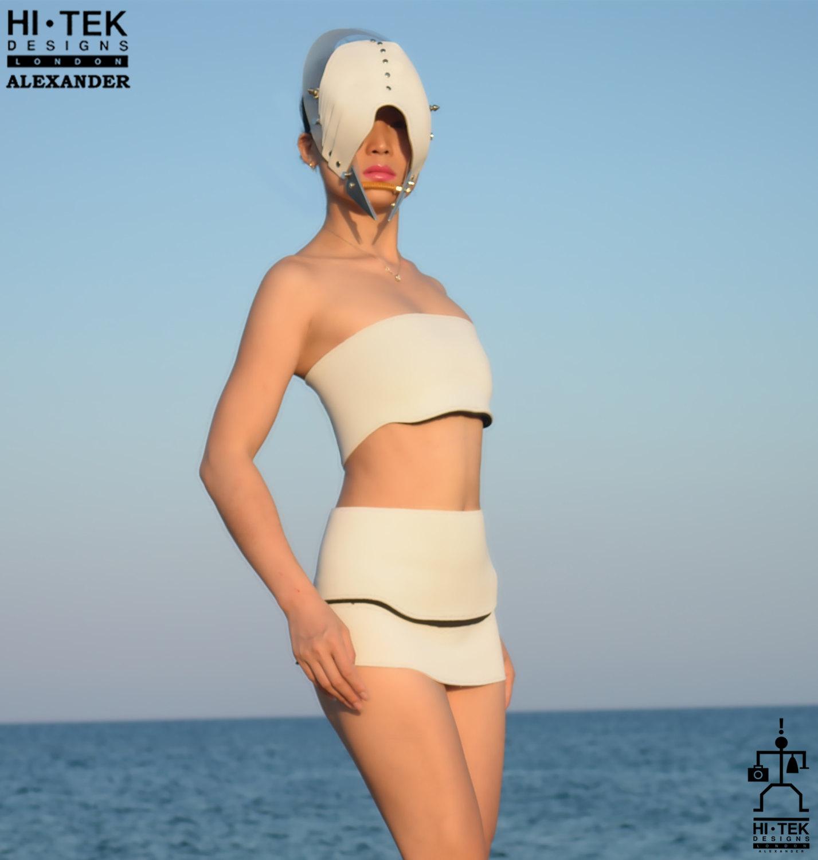 Hi Tek women/'s dancewear cosplay lady gaga style unique steampunk gothic sci fi costume cyber fetish futuristic clothing overbust miniskirt