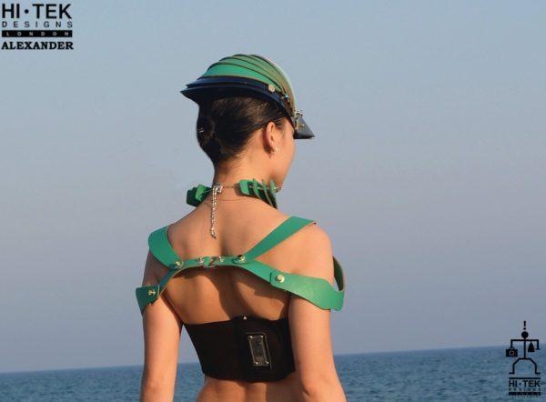 Leather harness pauldron fashion statement accessory cosplay costume cyber punk futuristic black green leather