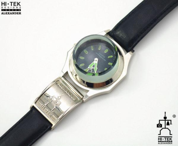 wrist watch black leather strap Goth cyber punk style
