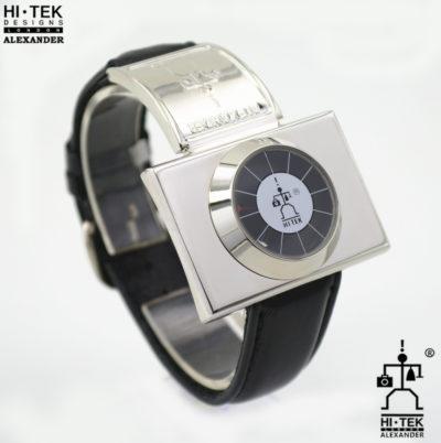 Hi Tek black leather goth steampunk retro futuristic unusual unisex wrist watch stainless leather strap