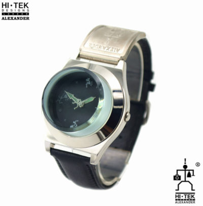 Hi Tek black leather goth steampunk retro futuristic unusual unisex wrist watch