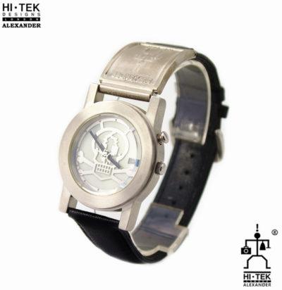 Hi Tek black leather goth steampunk retro futuristic unusual unisex wrist watch