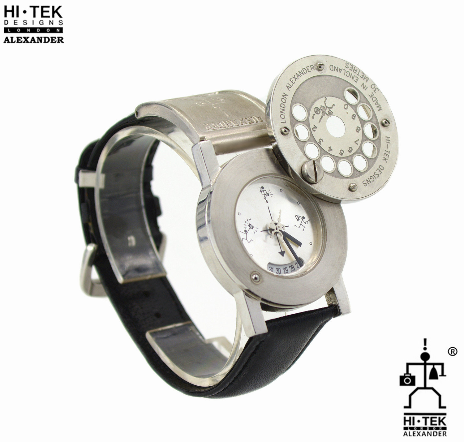 Hi Tek black leather goth steampunk retro futuristic unusual unisex wrist watch stainless steel case leather strap
