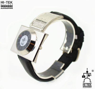Hi Tek black leather goth steampunk retro futuristic unusual unisex wrist watch stainless leather strap