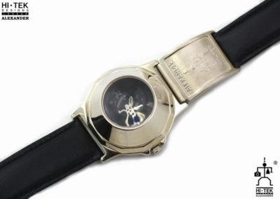 Hi Tek black leather goth steampunk retro futuristic unusual unisex wrist watch stainless steel case leather strap