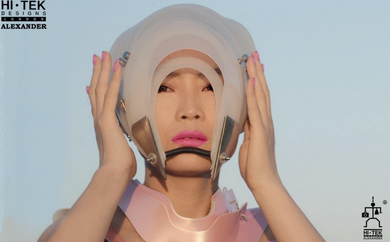 Hi Tek Alexander handmade futuristic modern futuristic, sci fi ,steampunk  unusual party eyewear white mask hat