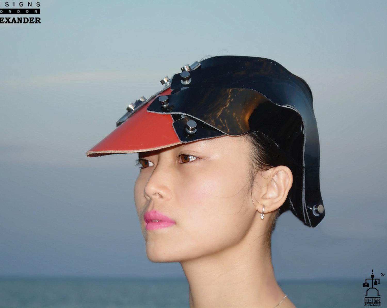 Hi Tek Alexander handmade futuristic modern futuristic, sci fi ,steampunk  unusual party Leather cosplay costume hat