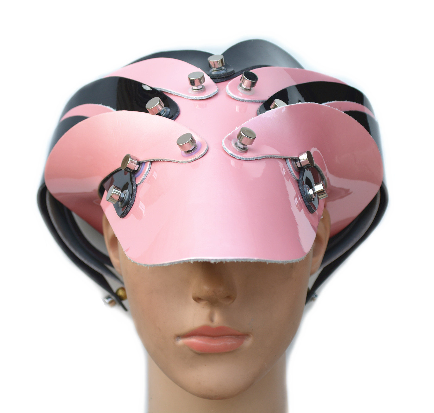 futuristic head wear, visor, unusual, Cosplay, costume hat pink shiny leather