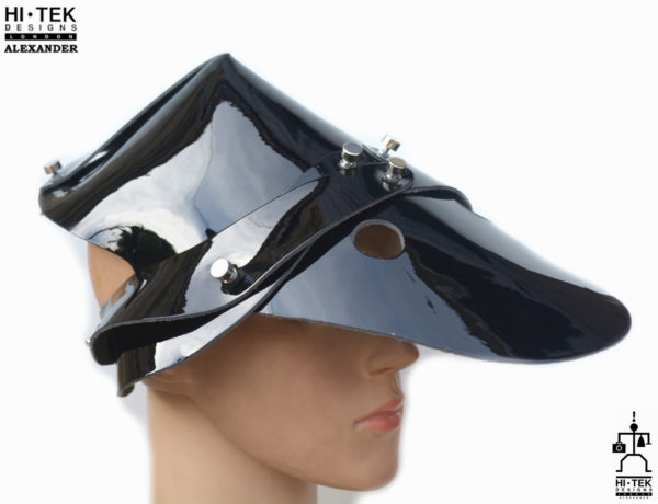 Hi Tek Alexander handmade futuristic modern futuristic, sci fi ,steampunk  unusual party Leather cosplay costume hat