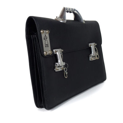 Vintage industrial black leather briefcase