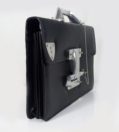 vintage industrial futuristic leather briefcase with aluminium components large lock and chain