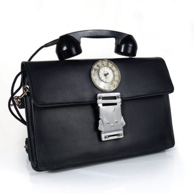 Vintage black leather briefcase unusual handle